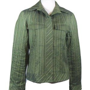Lafayette 148 New York Green Striped Jacket 6